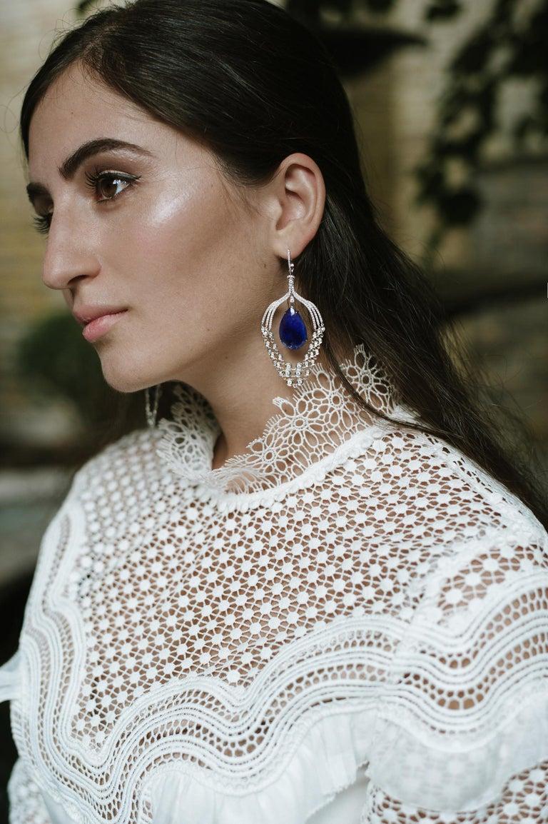 Antique Cushion Cut Pink Tourmaline Rock Crystal Diamond 18 Karat Rose Gold Chandelier Earrings For Sale