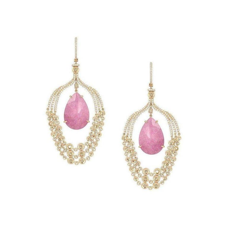 Pink Tourmaline Rock Crystal Diamond 18 Karat Rose Gold Chandelier Earrings For Sale