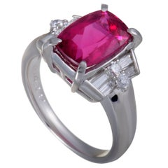 Pink Tourmaline Round and Tapered Baguette Diamond Platinum Ring