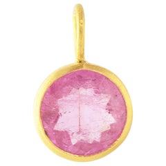 Ico & the Bird Pink Tourmaline Round Pendant 22 Karat Gold