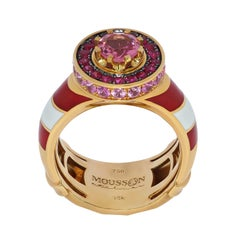 Pink Tourmaline Ruby Sapphire 18 Karat Yellow Gold Lighthouse Ring