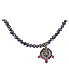 Black Pearl Sacred Heart Medal Pink Tourmaline Silver Chain Necklace J Dauphin
