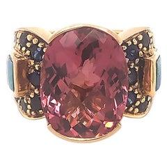 Pink Tourmaline, Sapphire and Opal Statement Ring