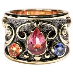2.5 ct Pink Tourmaline Sapphire Diamond 18 Karat Gold Cigar Band Ring US Size 7
