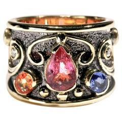 Pink Tourmaline Sapphire Diamond 18 Karat Yellow Gold Cigar Band Ring US Size 6