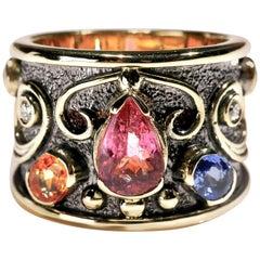Pink Tourmaline Sapphire Diamond 18 Karat Yellow Gold Cigar Band Ring US Size 8