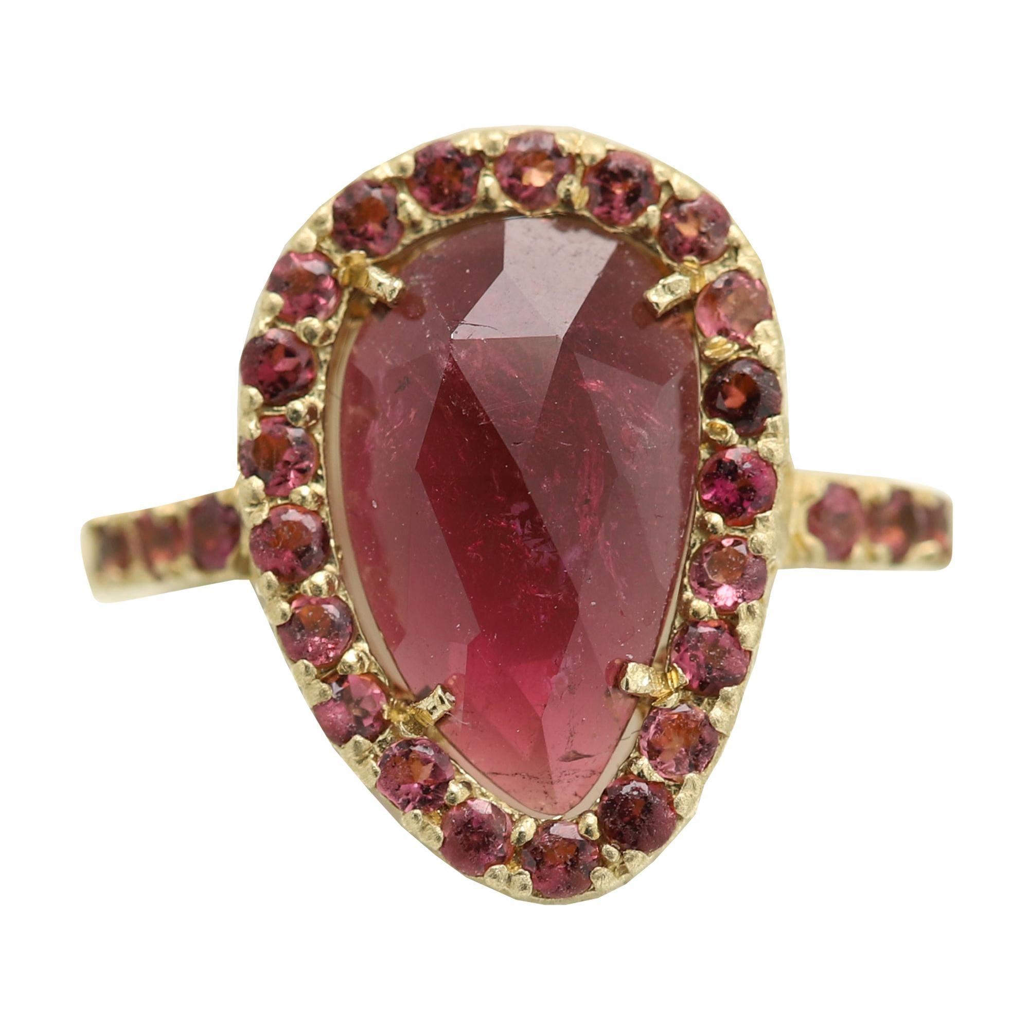 Pink Tourmaline Sliced Gem Ring 14 Karat Gold Vintage Pink Tourmaline Ring