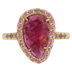 Pink Tourmaline Sliced Gem Ring 14 Karat Gold Vintage Pink Tourmaline Ring