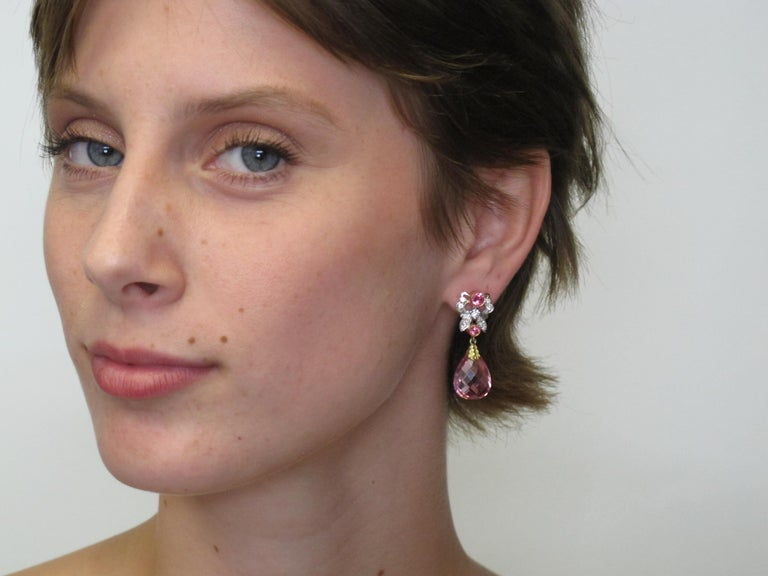Pretty in Pink! Featuring rare large and matched faceted Pink Tourmalines (16.5x12.5mm/16.68cts tw), round Spinels (0.86cts tw), and White Diamonds (0.48cts tw), these earrings are a work of art.   Handmade by our jewelers in Los Angeles.