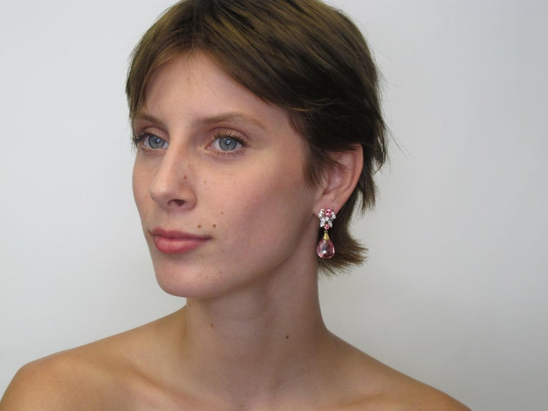 Artisan Pink Tourmaline, Spinel and Diamond Earrings 18k Gold For Sale