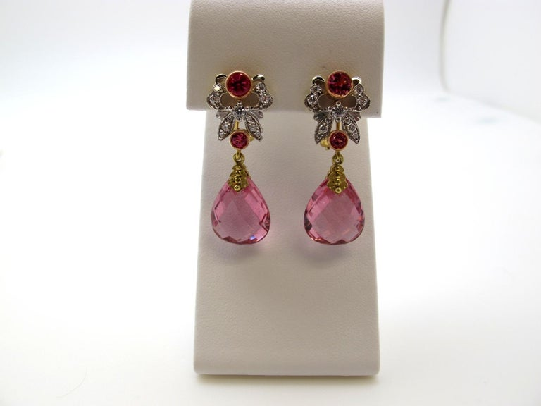Pink Tourmaline, Spinel and Diamond Earrings 18k Gold In New Condition For Sale In Los Angeles, CA