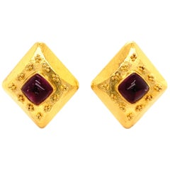 Pink Tourmaline Sugarloaf Earclips with Granulation in 18 Karat Yellow Gold