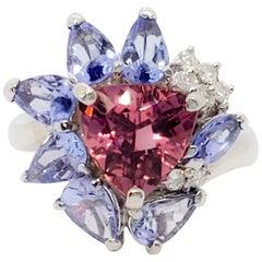 Pink Tourmaline, Tanzanite, and White Diamond Cluster Ring in Platinum