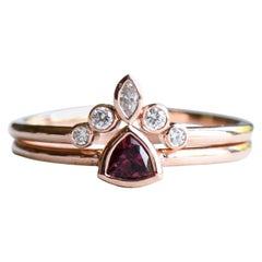 Pink Tourmaline Trillion Ring with Diamond Ring Guard, 14 Karat Rose Gold Ring