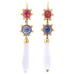 Pink Tourmaline with Cabochon Sapphires and Rock Crystal Gold Drop Earrings