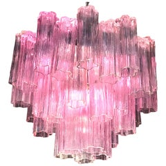 Pink Tronchi Murano Glass Chandelier by Toni Zuccheri for Venini, 1970s