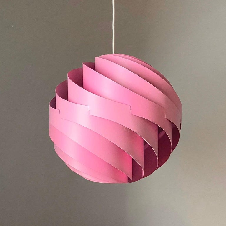 Pink Turbo Ceiling Light by Louis Weisdorf for LYFA, Denmark, 1970 In Good Condition For Sale In Haderslev, DK