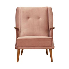 Pink Velour Armchair Vintage 1960s Midcentury Danish Design Retro