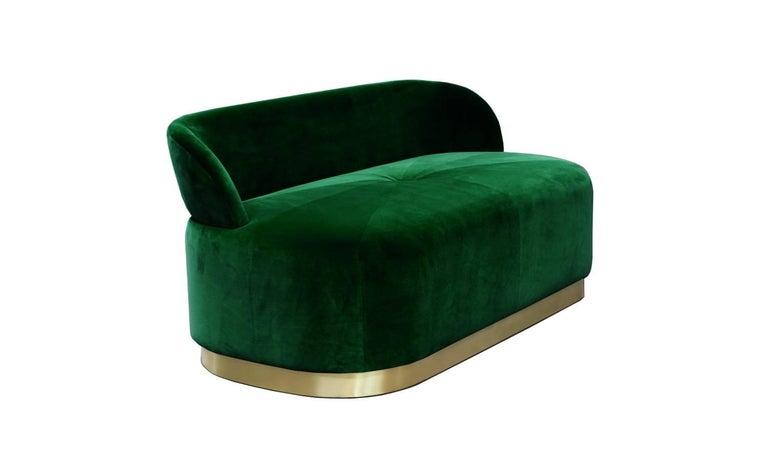 Modern Pink Velvet and Polished Brass Base Bench Majestic For Sale