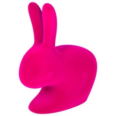 Pink Velvet Baby Rabbit Chair, Designed by Stefano Giovannoni, Made in Italy