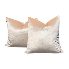 Pastel Pale Pink Velvet Down Pillows with Zipper Knife Edge a Pair New