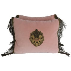 Pink Velvet Pillows with Antique Metallic Embroidered Appliqués, Pair
