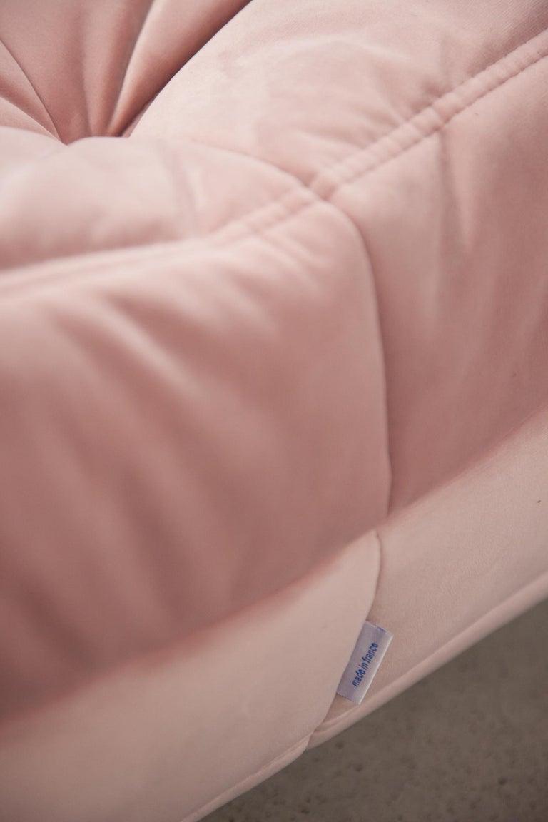 Pink Velvet Togo Sofa Set by Michel Ducaroy for Ligne Roset, 1970s, Set of 5 4