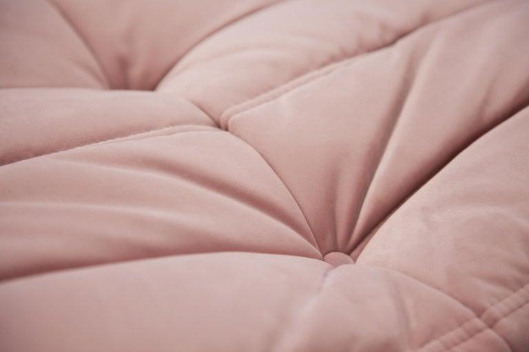 Pink Velvet Togo Sofa Set by Michel Ducaroy for Ligne Roset, 1970s, Set of 5 5