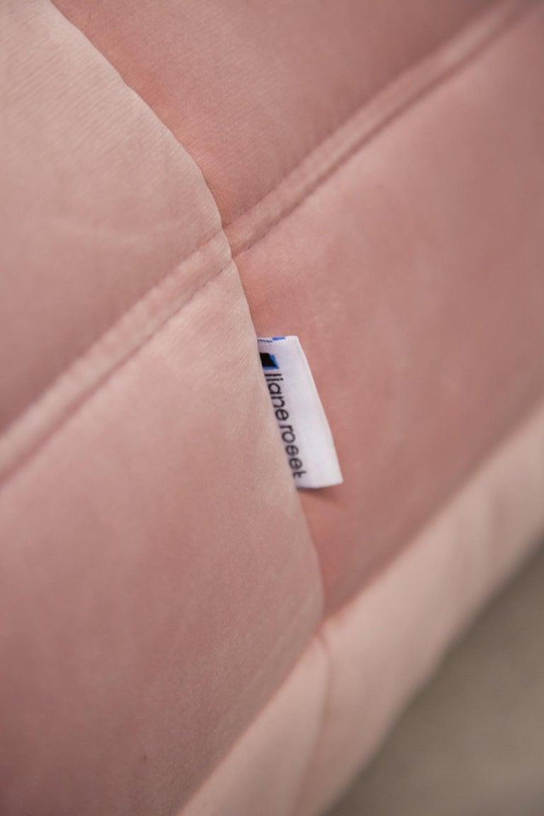 Pink Velvet Togo Sofa Set by Michel Ducaroy for Ligne Roset, 1970s, Set of 5 6