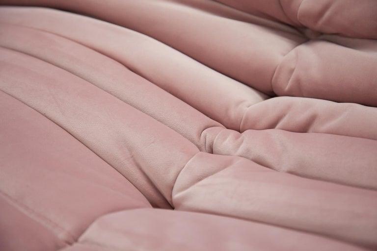 Pink Velvet Togo Sofa Set by Michel Ducaroy for Ligne Roset, 1970s, Set of 5 7