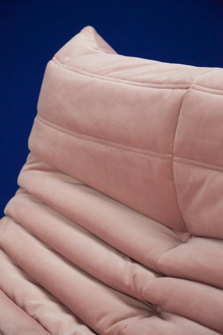 Pink Velvet Togo Sofa Set by Michel Ducaroy for Ligne Roset, 1970s, Set of 5 8