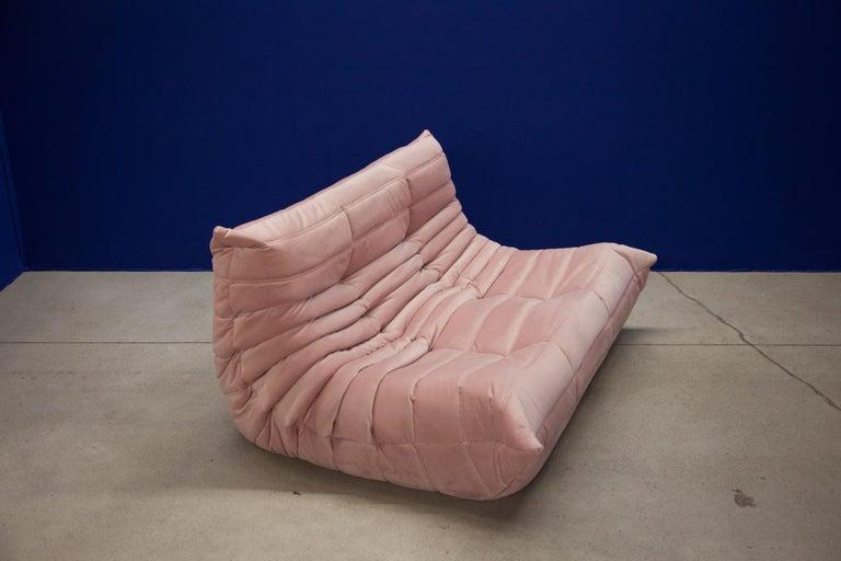 Mid-Century Modern Pink Velvet Togo Sofa Set by Michel Ducaroy for Ligne Roset, 1970s, Set of 5