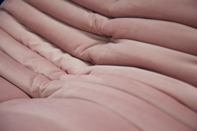 French Pink Velvet Togo Sofa Set by Michel Ducaroy for Ligne Roset, 1970s, Set of 5