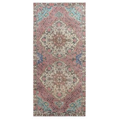 Pink Vintage and Worn Down Washed Runner Persian Antique Bakhtiari Hand Knotted
