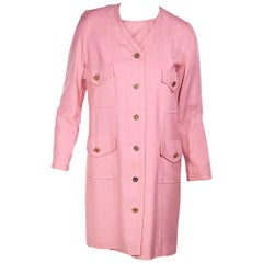 Chanel Boutique Pink Silk Jacket & Dress Set