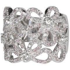 Pink and White Diamond Flower Ring in 18 Karat White Gold 1.30 Carat