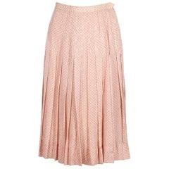Pink & White Vintage Chanel Silk Pleated Skirt