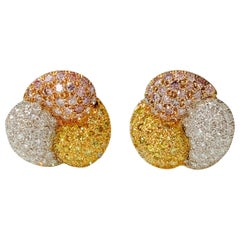 Pink Yellow and White Diamond Stud Earrings in 18 K Yellow Gold