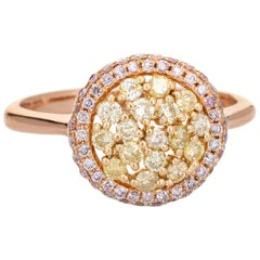 Pink Yellow Diamond Halo Ring Estate 18 Karat Rose Gold Fine Colored Gemstones