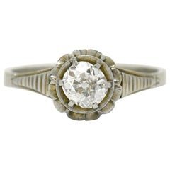 Pinkish Art Deco Diamond Engagement Ring Cushion Cut Antique 1920s White Gold