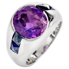 Pinkish Purple and Blue Sapphire Platinum Dome Men's Ring