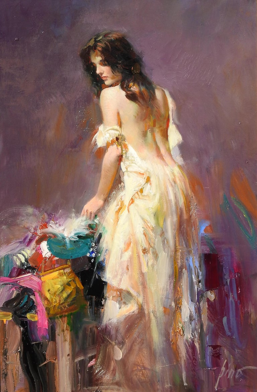 """Julia"", Pino Daeni, Original Oil on Canvas, Purple Portrait, Impressionism - Painting by Pino Daeni"
