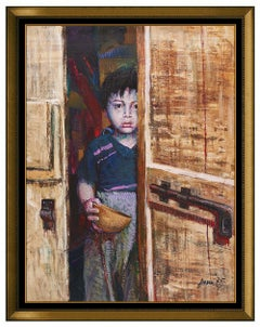 Pino Daeni Large Original Oil Painting on Canvas Child Portrait Signed Artwork