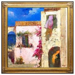 Pino Daeni Large Original Oil Painting on Canvas Italian Landscape Signed Art