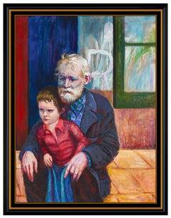 Pino Daeni Oil Painting on Canvas Original Large Portrait Signed Framed Artwork