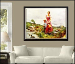 Pino Daeni New Friends Large Giclee on Canvas Signed Landscape