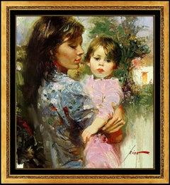 PINO Daeni oil Giclee on Canvas Signed Portrait Little Cherub