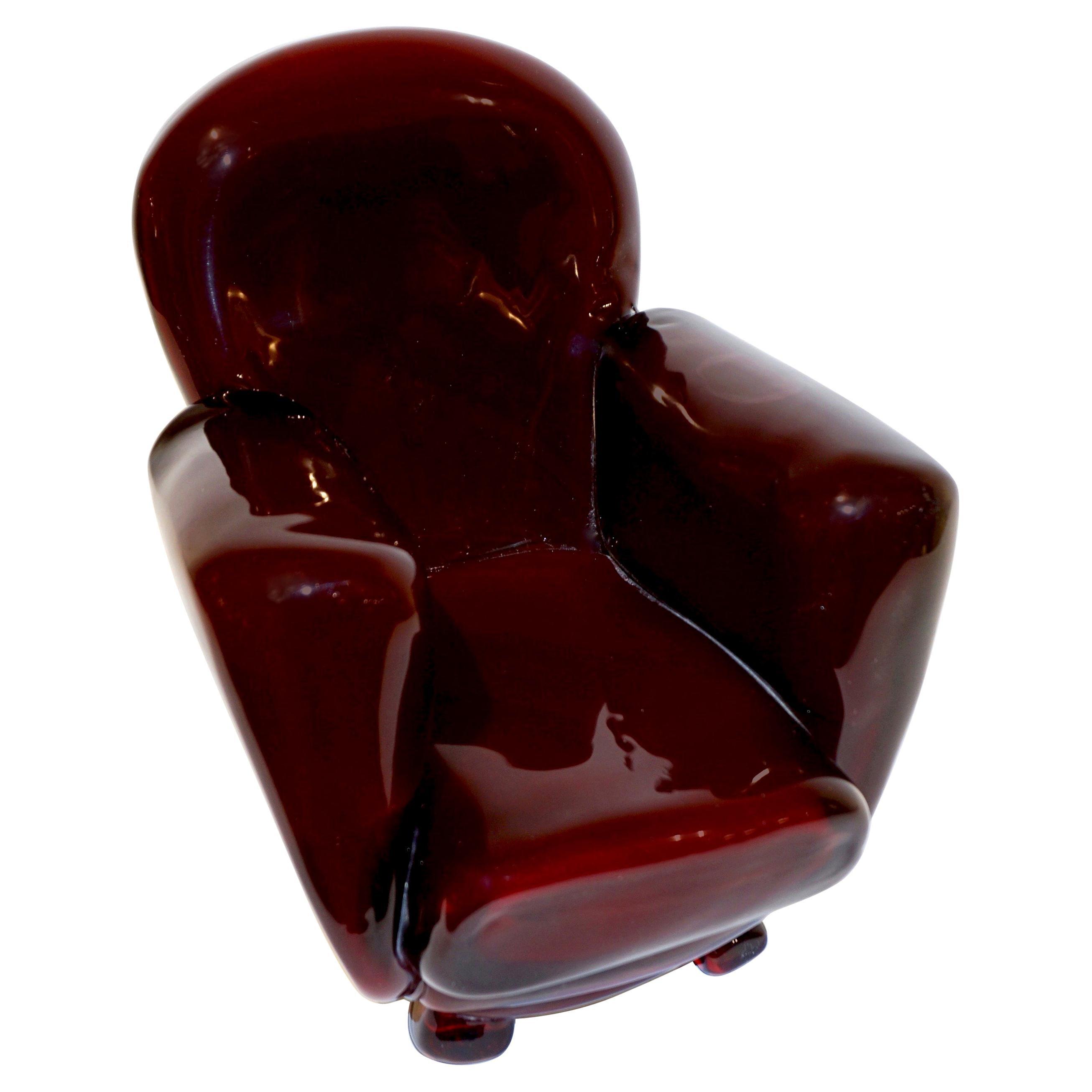 Pino Signoretto 1980s Italian Burgundy Red Murano Glass Miniature Armchair