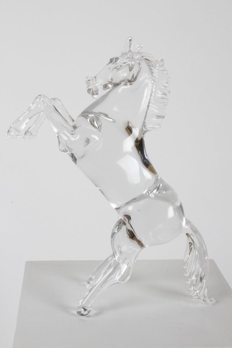 Pino Signoretto Signed Clear Murano Italian Glass Reared Up Horse Sculpture For Sale 5