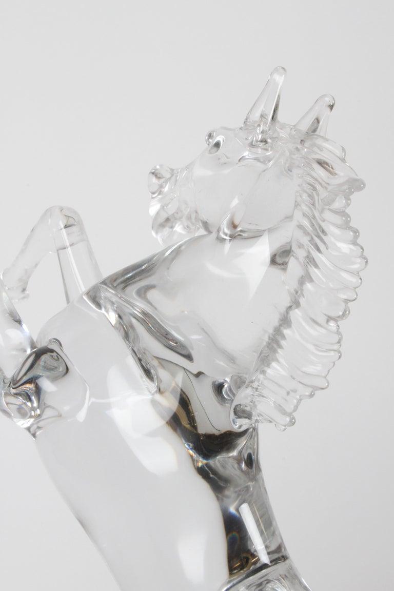 Pino Signoretto Signed Clear Murano Italian Glass Reared Up Horse Sculpture For Sale 6